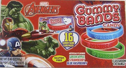 Valentines Day Marvel Avengers Gummy Bands Candy 16 in 1 Box (Valentines Day Marvel Box compare prices)