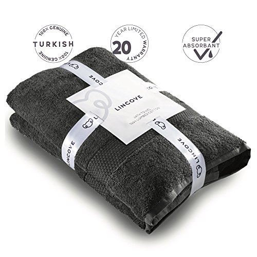 Lincove 100% Turkish Cotton Luxury Bath Towel - Hotel & Spa Bath Towel by 600 GSM, Highly Absorbent & Eco Friendly - 35.5x59 Made in Turkey