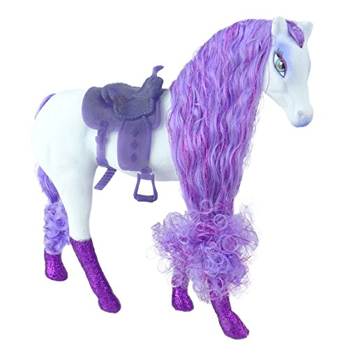 It's Girl Stuff! Princess's Flocked Horse with Saddle and Glitter Hooves in White and Purple ()