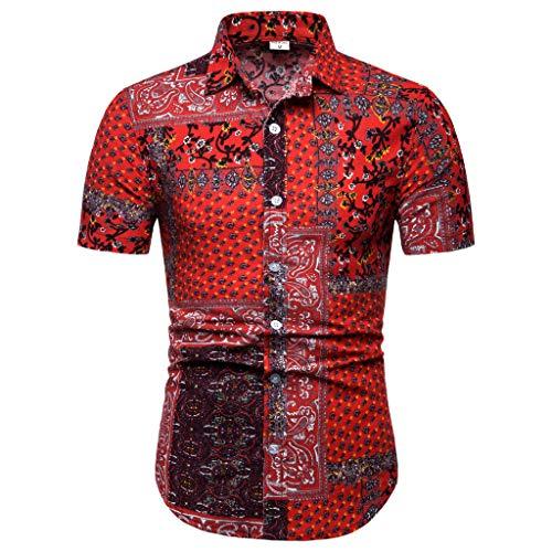 Lapel Printing Short Sleeve Shirt Men's New Pattern Casual Fashion Printing Tops -