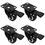 OCR 50MM Caster Rubber Base 360 Degree Caster Rubber Wheel With Brake for Shopping carts, Hand Trolley, Tools, Movable Furniture,Office Chair 4 Pcs Black (2''-Top Plate Wheel)
