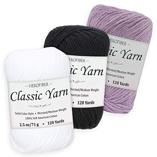 (Cotton Yarn Assortment | Snow White + Black + Lavender | 2.5oz / Ball - 3 Solid Colors - Worsted/Medium Weight - for Knitting, Crochet, Needlework, Decor, Arts & Crafts Projects)