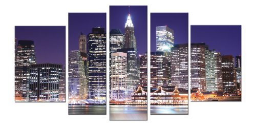 Startonight Canvas Wall Art New York City, Manhattan Myths, New York USA Design for Home Decor, Dual View Surprise Wall Art Set of 5 Total 35.43 X 70.87 Inch 100% - Shopping York Manhattan New