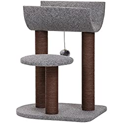 PetPals Cat Tree Cat Tower for Cat Activity with Scratching Postsand Toy Ball,Gray