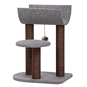PetPals Cat Tree Cat Tower for Cat Activity with Scratching Postsand Toy Ball,Gray (Perch)