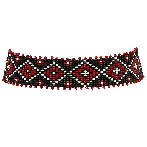 El Allure Preciosa Jablonex Seed Bead Native American Inspired Style Seed Beaded Choker Red, Black And Off White Patterned Handmade Personalized Delicate Costume Fashion Unique Necklace for Women. -