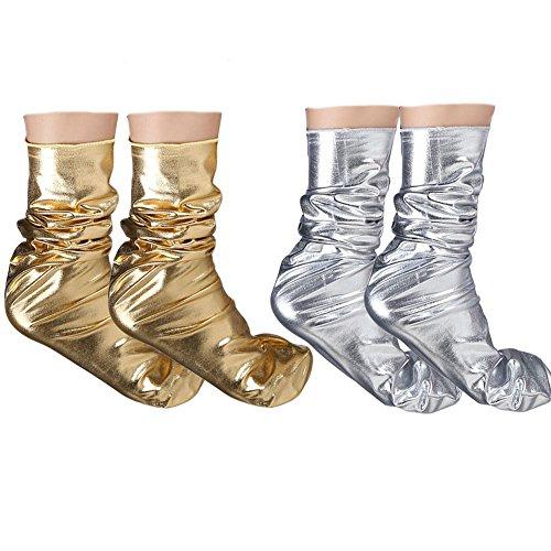 Women Socks Shiny Metallic Color Fashion Girls Sock (Gold + Silver) -