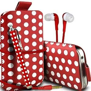 Nokia Lumia 510 Protección Premium Polka PU ficha de extracción Slip In Pouch Pocket Cordón piel cubierta de la caja de liberación rápida, Stylus Pen & 3.5MM auriculares auriculares auriculares rojo y blanco por Spyrox