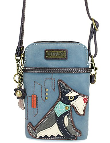(Chala Crossbody Cell Phone Purse - Women PU Leather Multicolor Handbag with Adjustable Strap - Schnauzer -)