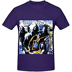 Foreigner Mr Moonlight Tour Roll Men O Neck Short Sleeve Shirt Purple
