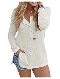 Freemale Womens Henley Button Down Blouse Long Sleeve Knit Sweatshirts Split Shirts