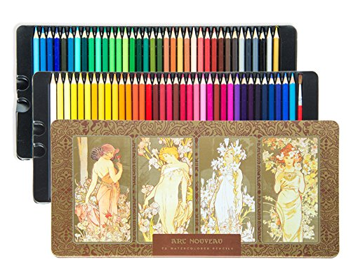 BEGOO Premium 72-Color Set Multicolored Wooden Colored Pencils with Cute Art Nouveau Metal Tin Case, Vibrant Color Water Solube Pencils Office Schools Sketching Coloring Book Drawing Tools Kids (72 Wooden Box)