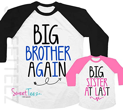 Big Brother Again Big Sister at last Shirt Set Shirt Black Raglan Matching Shirts Gift Pregnancy Announcement (Gifts For Big Brother At Baby Shower)