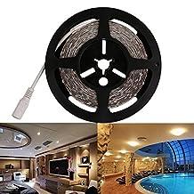 LEDMO Flexible LED Strip Light,DC12V LED Light Strip Waterproof,LED Tape,300 Units SMD 5050 LEDs,Warm White 3000K,16.4Ft/ 5M