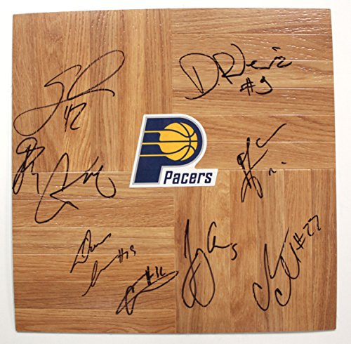 (Indiana Pacers 2014-15 Team Autographed Signed Basketball Floorboard)