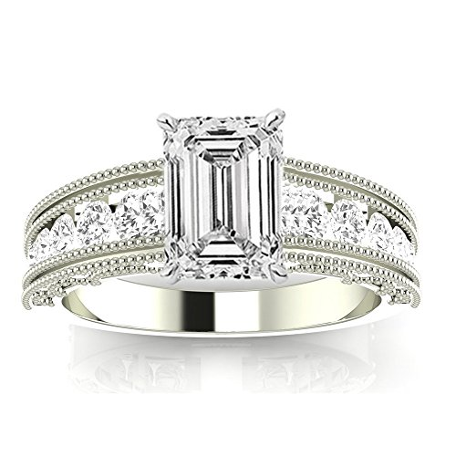(2.11 CTW GIA Certified 14K White Gold Antique/Vintage Style Channel Set Round Diamond Engagement Ring (1.51 Ct with Milgrain D Color VS1 Clarity Emerald Cut Center))