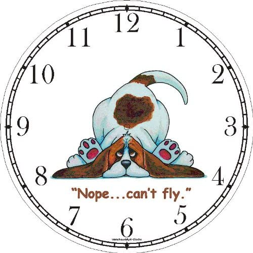 WatchBuddy Brown White Long Floppy Earred Basset Hound Dog Cartoon or Comic – JP Animal Wall Clock Timepieces Black Frame
