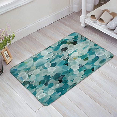 (Stylish Indoor Doormat Welcome Mat Beautiful Stones Turquoise Transparent Entrance Shoe Scrap Washable Apartment Office Floor Mats Front Doormats Non-Slip Bedroom Carpet Home Kitchen Rug 18