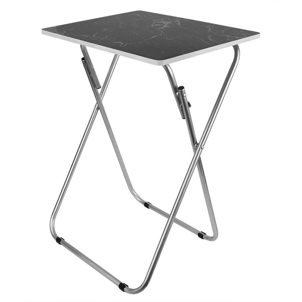 Home Basics Multi-Purpose Sturdy and Durable Decorative Bedside Laptop Snack Cocktails TV Folding Table Tray Desk Bedside Laptop Snacks Black Marble by Home Basics (Image #2)