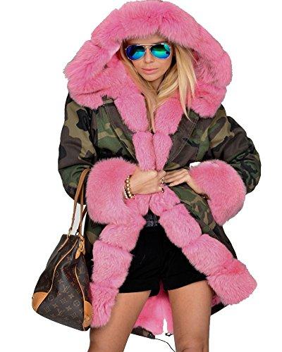 Roiii Womens Hooded Camouflage Warm Winter Coats Faux Fur Jacket Parka Overco.