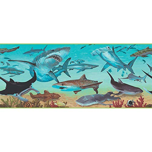 Sanitas Shark Wallpaper Border - Seashore, Sea Life, Fish, Whales - FB075113B ()