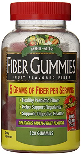 Garden Greens Fiber Gummies 5g, Healthy Probiotic Fiber, Supports Digestive Health, Delicious Multi-Fruit Flavor, 40 servings