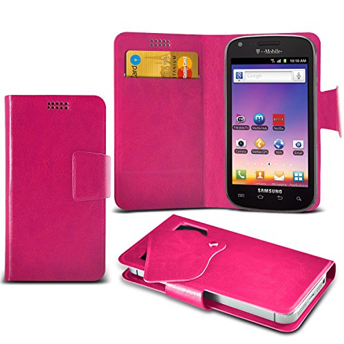 ONX3 Hot Pink Samsung Galaxy S Blaze 4G T769 Super Thin Faux Leather Wallet Flip Suction Pad Skin Case Cover With Credit Debit Cards Slot