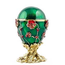 Pansy Royal Russian Egg- Enameled Jewelry Trinket Box Figurine
