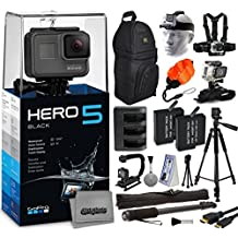 """GoPro HERO5 Black CHDHX-501 with Travel Charger + (2) Extra Batteries + 60"""" Tripod + 67"""" Monopod + Backpack + Headstrap + Chest Harness Mount + Floaty Strap + HDMI Cable + Wrist Glove Strap"""