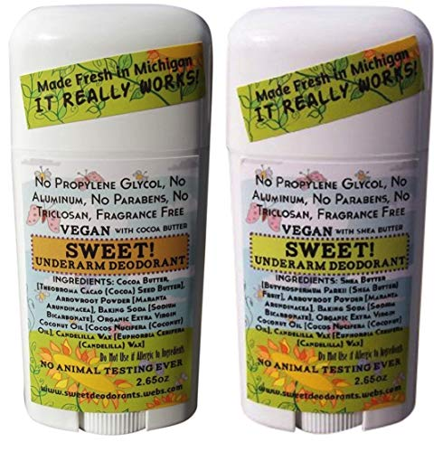 Sweet! Aluminum-Free Deodorant 2-Pack (One Each, Shea Butter and Cocoa Butter)