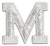 "[Single Count] Custom and Unique (2"" Inch) Small Bold Metallic Letterman Jacket Varsity Plain Solid Block Font Alphabet Letter M Monogram Design Iron On Embroidered Applique Patch {Silver Color}"