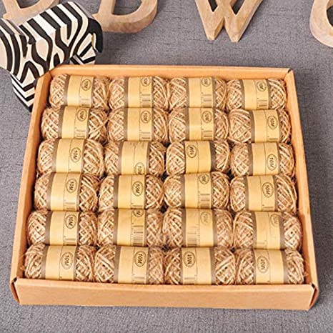 Thick Twine 5MM Jute Twine 65 Feet 3 Ply Natural Jute Rope Biodegradable Strong Jute Cord for Arts Crafts DIY Decoration Gift Wrapping JIJIA