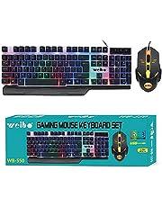 مجموعة لوحة مفاتيح وماوس العاب WB-550 باضاءة LED بالفضاء اللوني ار جي بي مع سلك USB بطول 1.5 متر لاجهزة الكمبيوتر واللاب توب وPS4 وXbox One