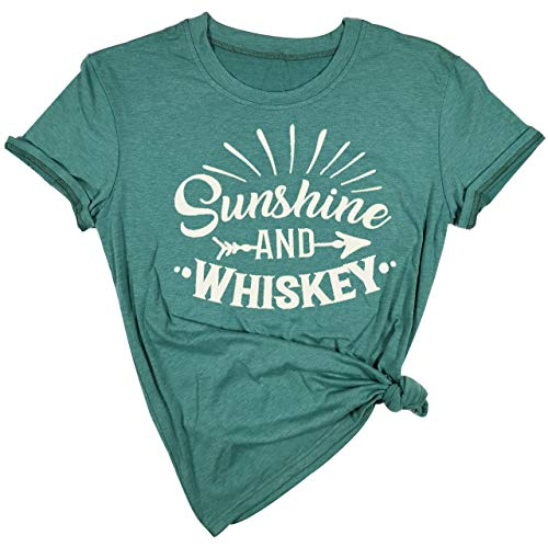 f4e0a39a9f684 Sunshine and Whiskey T Shirt Women Funny Summer Drinking Drunk Sunset Tops  Tee (Large, Green)