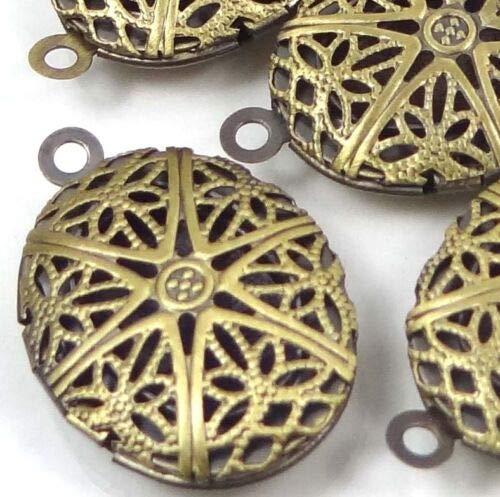 (5 Charms) 24x16mm Antique Bronze Filigree Hollow Locket Oval Pendants