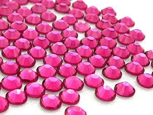 1440 x (Hot Pink ss16 (4mm), 45 Colours 5 Sizes, EIMASS® 7767 DMC Hot Fix Glass Rhinestones, Flat back Gems, Diamante with Glue Backing