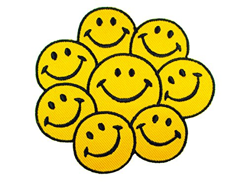 Smiley Happy Face Group Logo Embroidered Badge Iron on Applique Patches ()