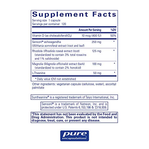 Pure Encapsulations - Cortisol Calm - Hypoallergenic Supplement to Maintain Healthy Cortisol Levels* - 120 Capsules by Pure Encapsulations (Image #1)