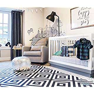 Premium Stylish Foam Floor Mat | Cushy-Soft & Thick | Waterproof, Easy-to-Clean, Hypoallergenic, Non-Toxic, Reversible, Portable | Play Mat, Yoga Mat, Exercise Mat - Large Black White Tribal Square
