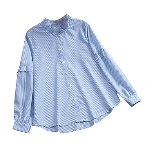 (TOPUNDER Women Casual Long Sleeve Loose Tunic Cotton T-Shirt Striped Button Blouse)