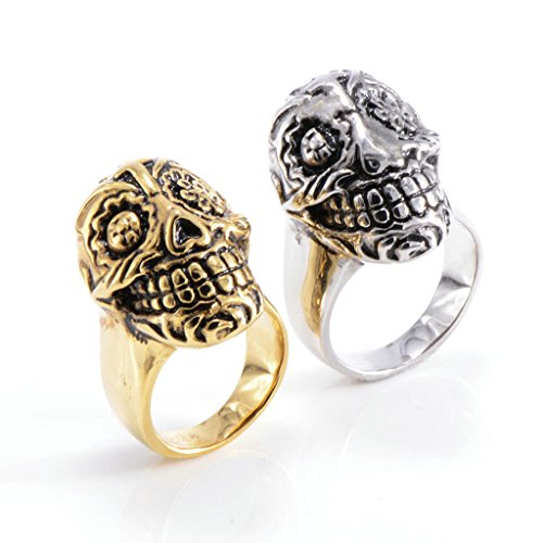 [Men's 316L Stainless Steel Large Skull Ring Silver Gothic Vintage Biker Size 8] (Boss Hog Costume)