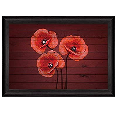 Delightful Design, Bouquet of Red Poppy Flowers on Cherry Wood Panels Nature Framed Art, Classic Design