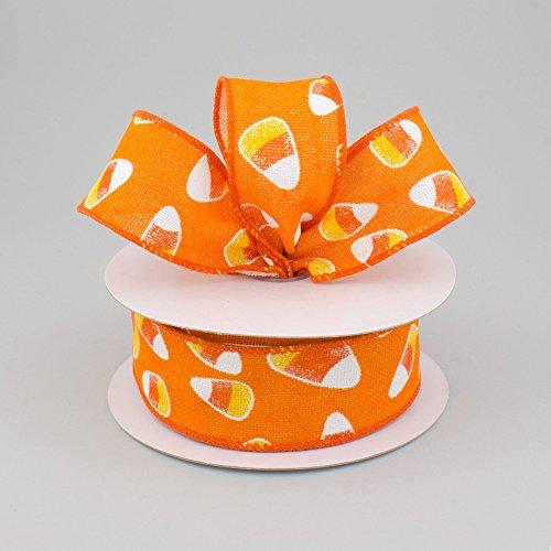 SPI Halloween Decor - Candy Corn Orange Canvas Burlap Ribbon 1.5