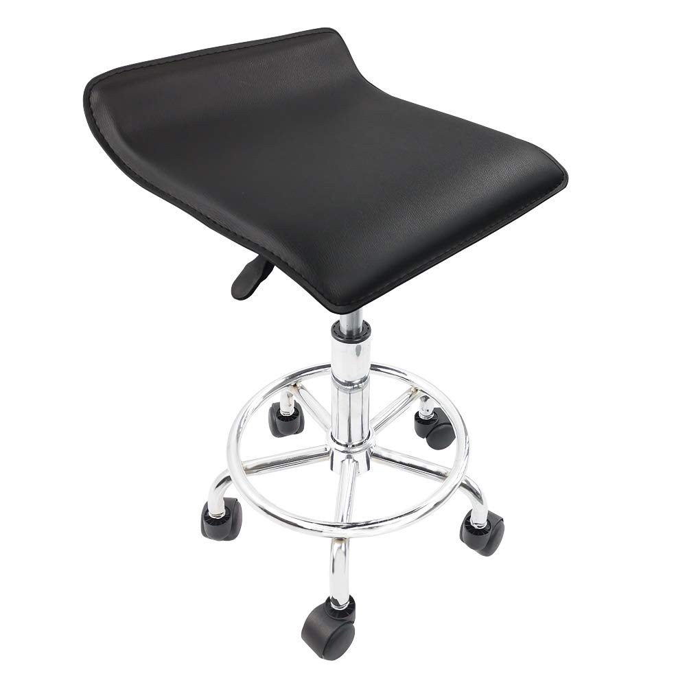 KKTONER Square Height Adjustable Rolling Stool with Foot Rest PU Leather Seat Cushion Medical Spa Drafting Salon Tattoo Work Swivel Office Stools Task Chair Black by KKTONER