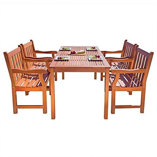 Vifah Balthazar 5 Piece Wood Patio Dining Set - Balthazar Dining Set