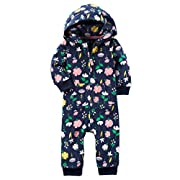 Carters Baby Girls Fleece Hooded Romper Jumpsuit, Blue Floral, 6M