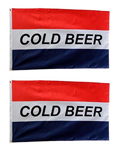 Cold Beer Flag 3 x 5 (2 Flags) Banner Sign College Dorm Business Home Bar Advertising Indoor Outdoor Retailers. Bandera De Cerveza Fría