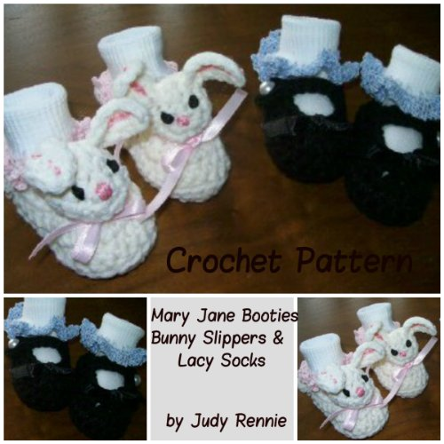 Trim Bunny - Crochet Pattern - Mary Janes, Bunny Slippers, Lacy Sock Trim
