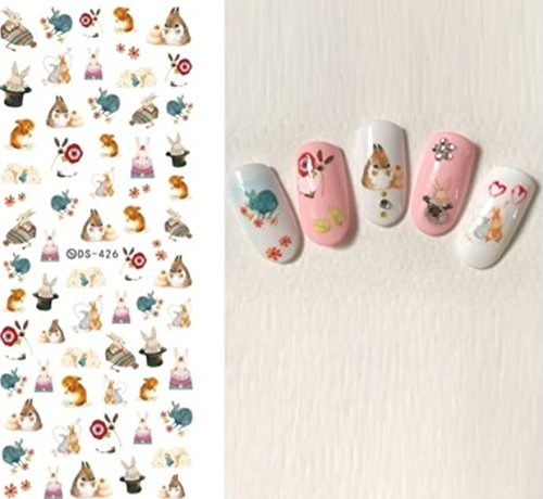 1 Sheet 3D Animal Series Nail Art Sticker Flamingo Unicorn Ocean Cat Plant Water Transfer Nails Wrap Paint Tattoos Stamping Plates Templates Tools Tips Kits Outstanding Popular Decals Kit, -