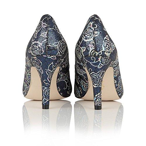 Lotus Delphinium azul marino estampado floral corte zapatos azul marino